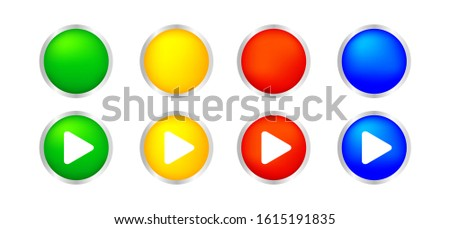 button circle 3d shape for buttons games play isolated on white, colorful modern buttons simple and convex, sphere button flat style icon sign for application play, buttons play for website and app