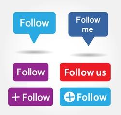 Button Follow us isolated counter notification  Vector Logo, JPG, JPEG, EPS. Icon Button.Flat Social Media Sign