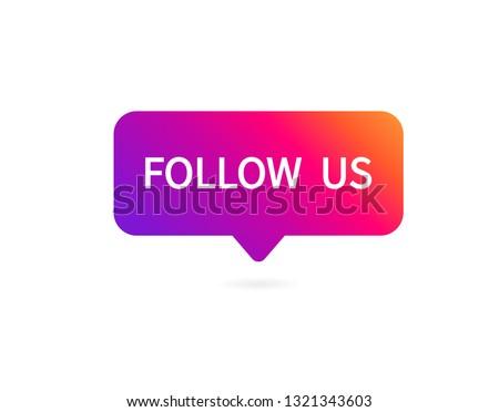 Button Follow us on white background. Vector illustration Stockfoto ©