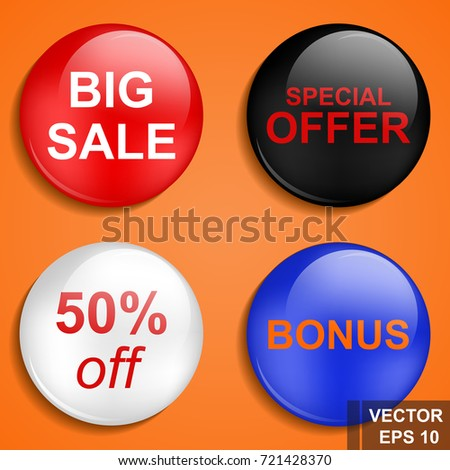 Button. Great sale. Discounts. Tag. Purchases. For your design.