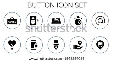 button icon set. 10 filled button icons.  Simple modern icons such as: Close, Heart, Speaker, Smartphone, Route, Pen, Alarm, Location pin, Arroba, Location