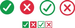 Button icons for: Accepted/Rejected, Approved/Disapproved, Yes/No, Right/Wrong, Green/Red, Correct/False, Ok/Not Ok - vector mark web symbols in green and red.