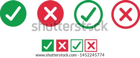 Button icons for: Accepted/Rejected, Approved/Disapproved, Yes/No, Right/Wrong, Green/Red, Correct/False, Ok/Not Ok - vector mark web symbols in green and red. Foto stock ©