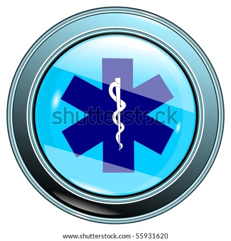 Button medical sign blue isolated on the white background vector eps10