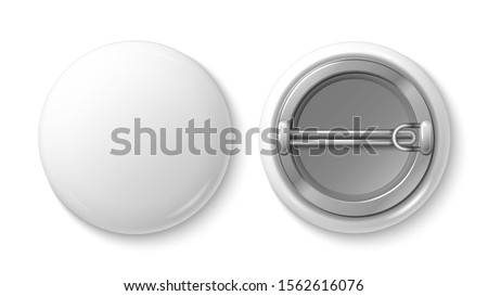 Button pin badge. White blank badge mockup. Realistic vector 3d pin button