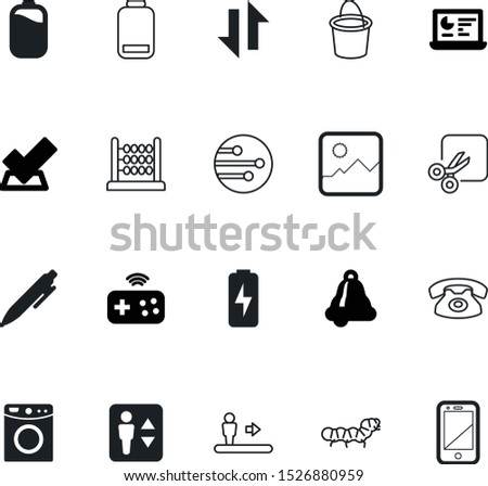 button vector icon set such as: list, cleanup, calculate, way, writing, session, charging, arithmetic, game, trash, supply, template, vote, educational, traditional, accounting, strength, house, bell Stock photo ©