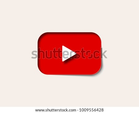 Button video player in paper art on light background. Button youtube icon