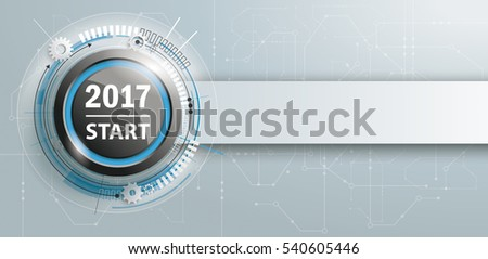 Button with banner and text 2017 Start. Eps 10 vector file.