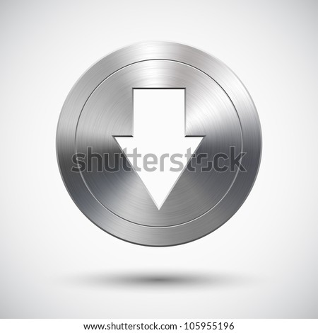 Button with metal (chrome) texture and down arrow sign