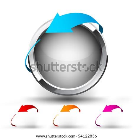 Button with round arrow. Set