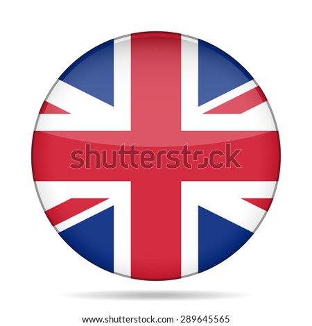 button with the national flag of Great Britain