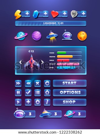 Buttons and elements set on a cosmic background. Complete menu of graphical user interface GUI to build 2D games.