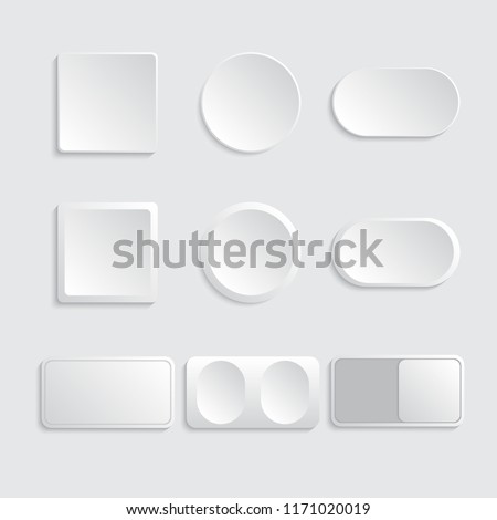 Buttons and switches set white color. Vector illustration #1171020019