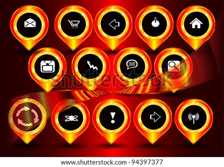 Buttons, icons for the computer and the Internet. Vector