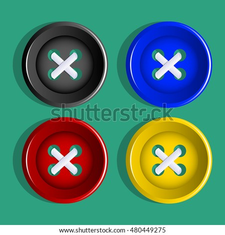 Buttons. Multi-colored plastic buttons. Vector Image.