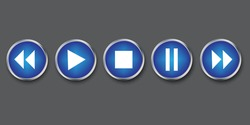 Buttons of a play media player. Vector blue audio navigation icon. Stock Photo.
