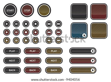 Buttons: Play, Stop, Next, Back, Pause. Vectored eps image with different rollover states.