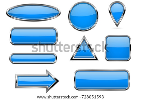 Buttons set. Blue shiny 3d icons. Vector illustration isolated on white background