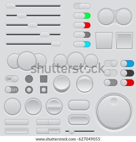 Buttons set. Web interface icons. Vector 3d illustration
