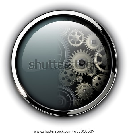 Buttons shiny, chrome metallic with machinery cog gears inside, vector illustration
