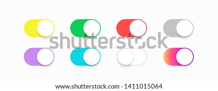 Buttons toggle switch off on. Template set buttons slider switches. Colored bright slider buttons for application. Web icons ui for smartphone. Vector illustration. EPS 10