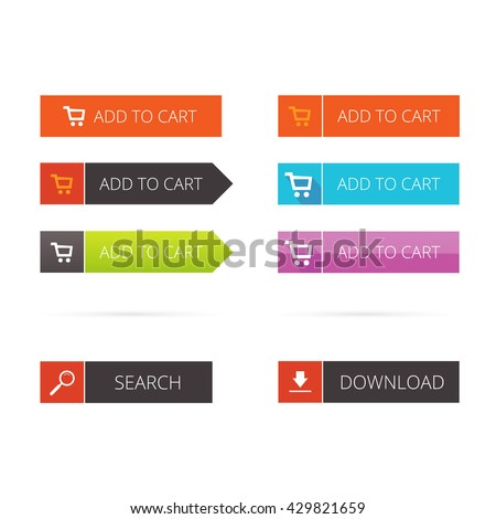 Buttons vector flat set, add to cart buttons, search button, download button