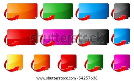 Buttons width corner arrows - stock vector