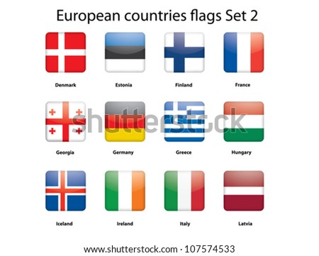 buttons with European countries flags set 2