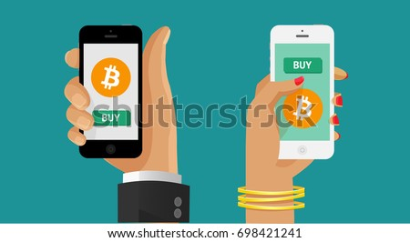 Buy bitcoin. Online crypto payment concept. Man and woman hand holding smartphone with golden coin, button buy. Pay per click by virtual currency. Flat vector for business, web banners, sites design
