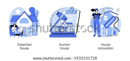 Buy family home abstract concept vector illustration set. Detached and auction house, house renovation, residential and commercial property remodeling, house listing, design project abstract metaphor.