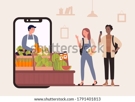 Buy food in online farm market shop vector illustration. Cartoon flat happy characters shopping, people buying organic vegetables and fruits, using smartphone app farmers store advertising background