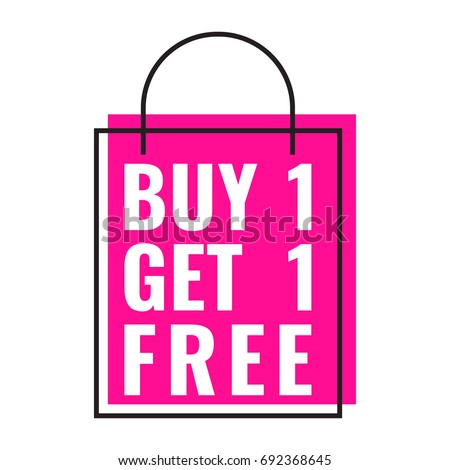 Buy 1 get 1 free. Bag icon. Vector illustration on white background. Business concept.