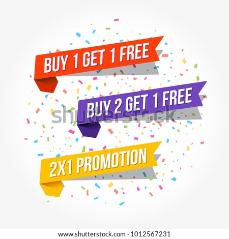 Buy 1 Get 1 Free, Buy 2 Get 1 Free & 2X1 Promotion Tags