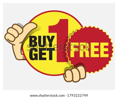 Buy 1 Get 1 Free promo unit, BOGO or Buy one get 1 free price tag. 50% off or half price promo offer tag.