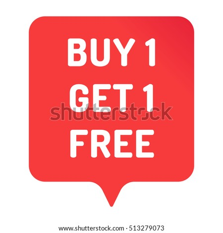 Buy 1 get 1 free. Red badge, sticker, icon, vector design illustration on white background. Can be used for business, store, advertising.