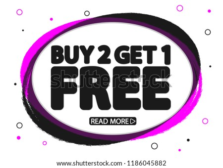 Buy 2 Get 1 Free, Sale banner design template, discount tag, app icon, vector illustration