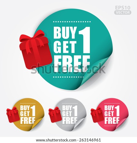 Buy 1 Get 1 Free Sticker and Tag with Gift Box - Vector