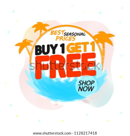 Buy 1 Get 1 Free, Summer sale tag, discount banner design template, app icon, vector illustration