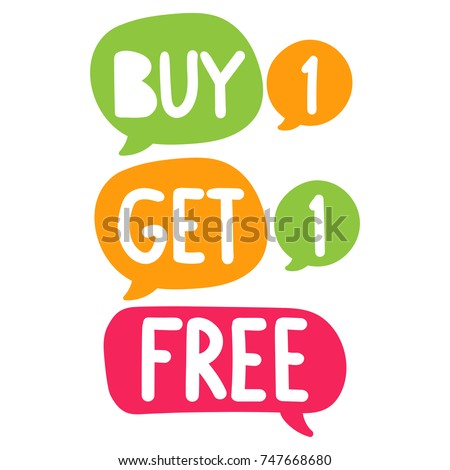 Buy 1 get 1 free. Vector hand drawn illustration on white background. Business concept.
