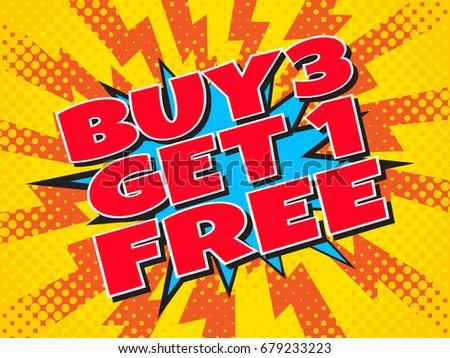 buy 3 get 1 free  wording in