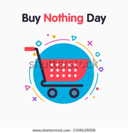 Buy Nothing Day, BDN, sign concept illustration against consumerism. Stop consumerism eco symbol icon. Illustration of examine the issue of overconsumption.