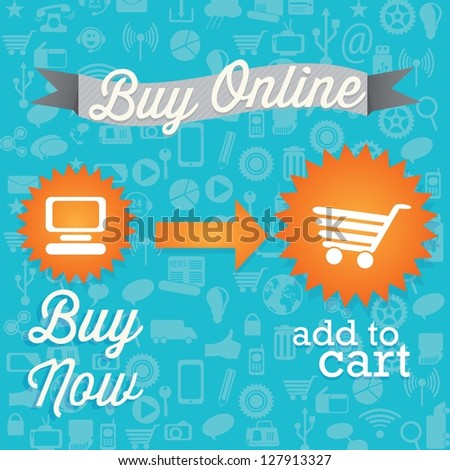 Buy Now! (add to cart) On blue background. Vector