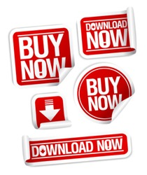 Buy Now, Download Now online store stickers set.
