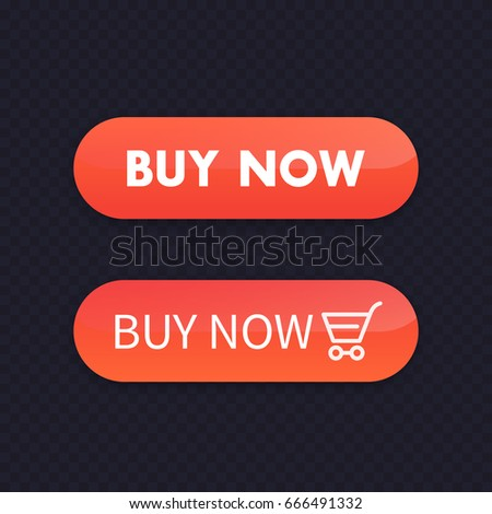 buy now, orange buttons for web, vector illustration