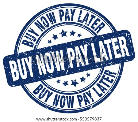 buy now pay later stamp blue