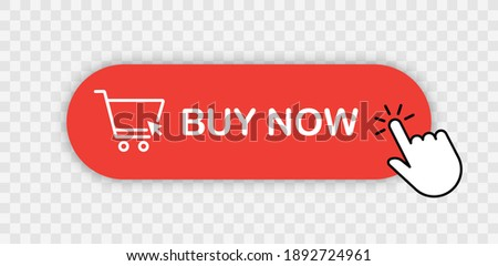 Buy now red button with hand cursor. Button hand pointer clicking. Click here banner with shadow. Click button isolated. Online shopping.  Foto d'archivio ©