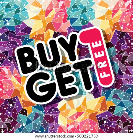 buy one get free sale promo mosaic abstract triangular