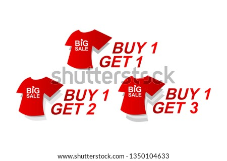 buy one get one, buy one get two. buy one get three. pack vector design template. with shirt image. red and grey color