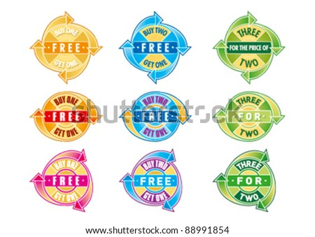 Buy One Get One Free Arrows Editable Vector Graphics