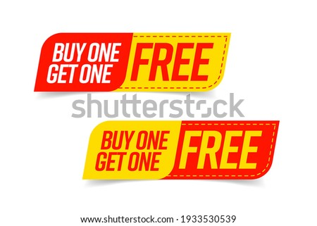 Buy one get one free bogo template voucher or coupon set. Special shop store discount tag, sticker, label to buy two product for price of one vector illustration isolated on white background